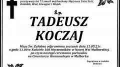 Zmarł Tadeusz Koczaj. Żył 71 lat.