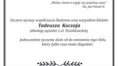 Kondolencje dla rodziny śp. Tadeusza Koczaja.
