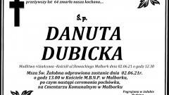 Zmarła Danuta Dubicka. Żyła 64 lata.