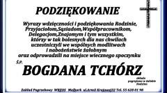 Podziękowanie za udział w ceremonii pogrzebowej śp. Bogdana Tchórz.
