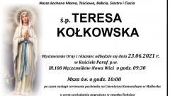 Zmarła Teresa Kołkowska. Żyła 78 lat.