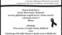 Kondolencje pracowników Urzędu Gminy Malbork oraz GOPS Malbork.