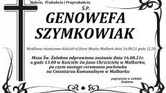 Zmarła Genowefa Szymkowiak. Żyła 85 lat.