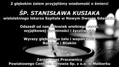 Kondolencje Zarządu i Pracowników Powiatowego Centrum Zdrowia Sp. z o.o. w Malborku.
