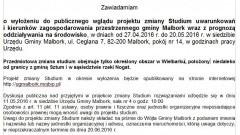 Ogłoszenie o wyłożeniu do publicznego wglądu projektu zmiany Studium uwarunkowań i kierunków zagospodarowania przestrzennego Gminy Malbork - 19.04.2016