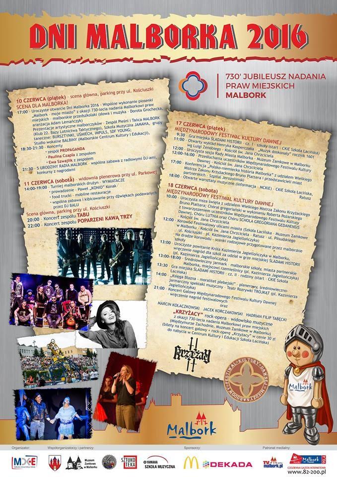 Dni Malborka 2016! Zobacz co przygotowano na tegoroczne plenerowe wydarzenia kulturalne - 10/18.06.2016
