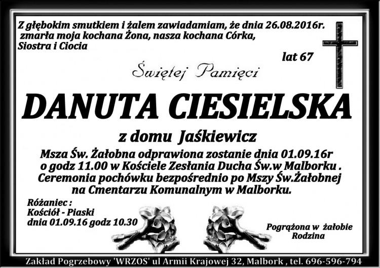 Zmarła Danuta Ciesielska. żyła 67 lat.