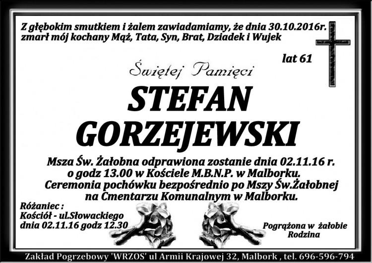 Zmarł Stefan Gorzejewski. Żył 61 lat.