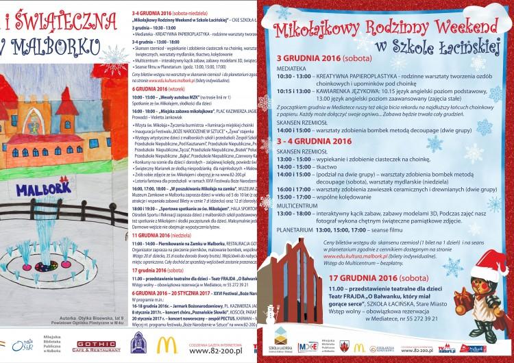 Zapraszamy na mikołajkową i świąteczną przygodę w Malborku. Mikołajkowy Rodzinny Weekend w Szkole Łacińskiej - 03.12.2016-20.01.2017