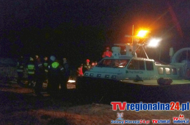 Akcja ratownicza na Zalewie Wiślanym. Poduszkowiec Straży Granicznej odnalazł zaginionego mężczyznę - 13.01.2017