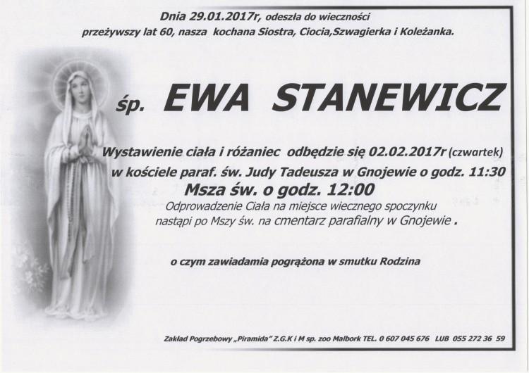 Zmarła Ewa Stanewicz. Żyła 60 lat.