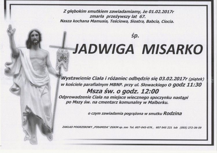 Zmarła Jadwiga Misarko. Żyła 67 lat.