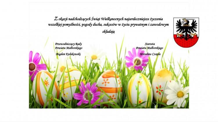Życzenia Wielkanocne dla mieszkańców od Starosty i Przewodniczącego Rady Powiatu Malborskiego - 12.04.2017