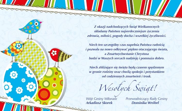 Życzenia Wielkanocne składają Wójt Gminy Miłoradz oraz Przewodniczący Rady Gminy - 13.04.2017
