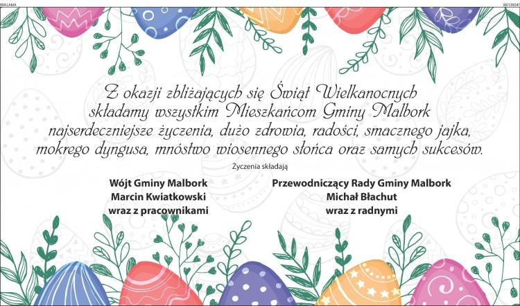Życzenia Wielkanocne składają Wójt Gminy oraz Przewodniczący Gminy Malbork - 13.04.2017