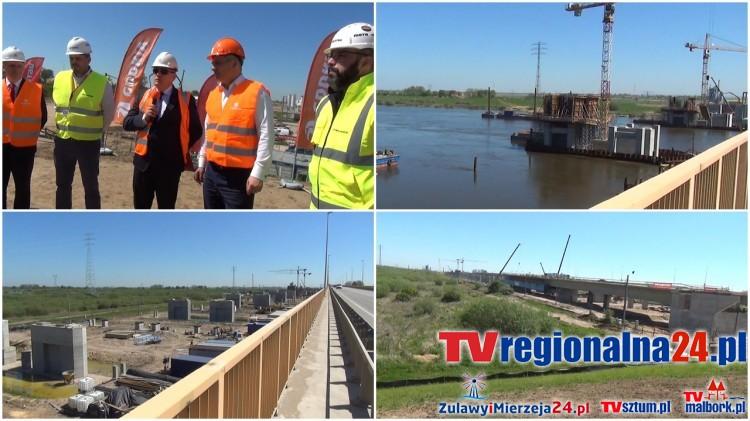Wiceminister Jerzy Schmit na budowie nowego mostu w Kiezmarku. Budowa drogi S7 Koszwały - Elbląg bez opóźnień - 19.05.2017