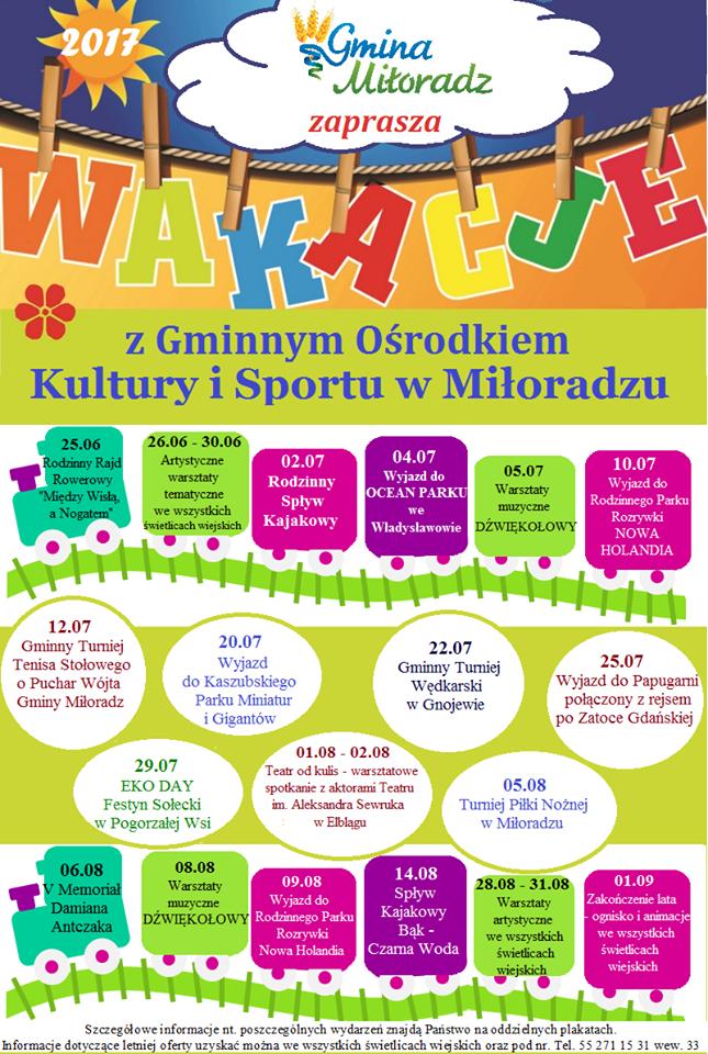 Wakacje 2017 z Gminnym Ośrodkiem Kultury i Sportu w Miłoradzu - 25.06-01.09.2017