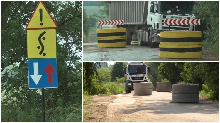 Uważaj na betonowe kręgi na Wielbarku. Szykany mają ograniczyć prędkość samochodów ciężarowych – 20.06.2017 (aktualizacja)