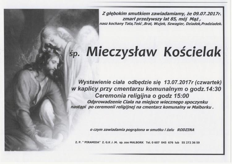 Zmarł Mieczysław Kościelak. Żył 85 lat.