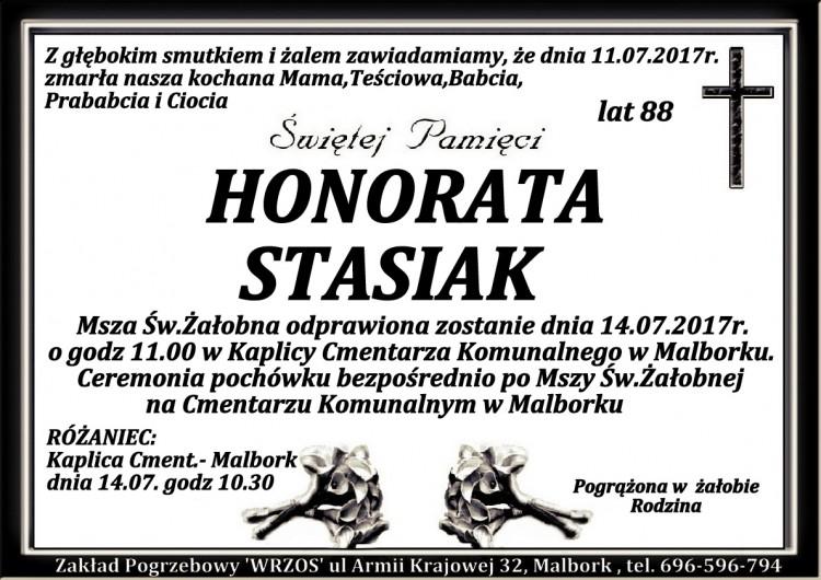 Zmarła Honorata Stasiak. Żyła 88 lat.