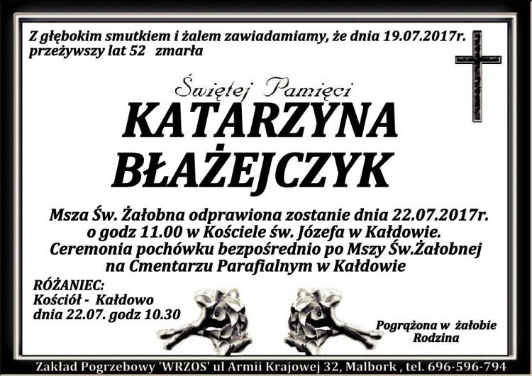 Zmarła Katarzyna Błażejczyk. Żyła 52 lat.