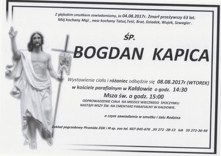 Zmarł Bogdan Kapica. Żył 63 lata.