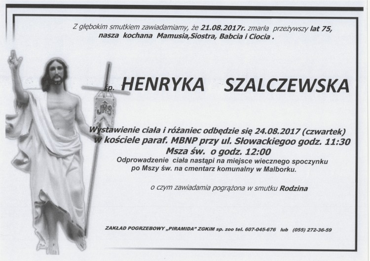 Zmarła Henryka Szalczewska. Żyła 75 lat