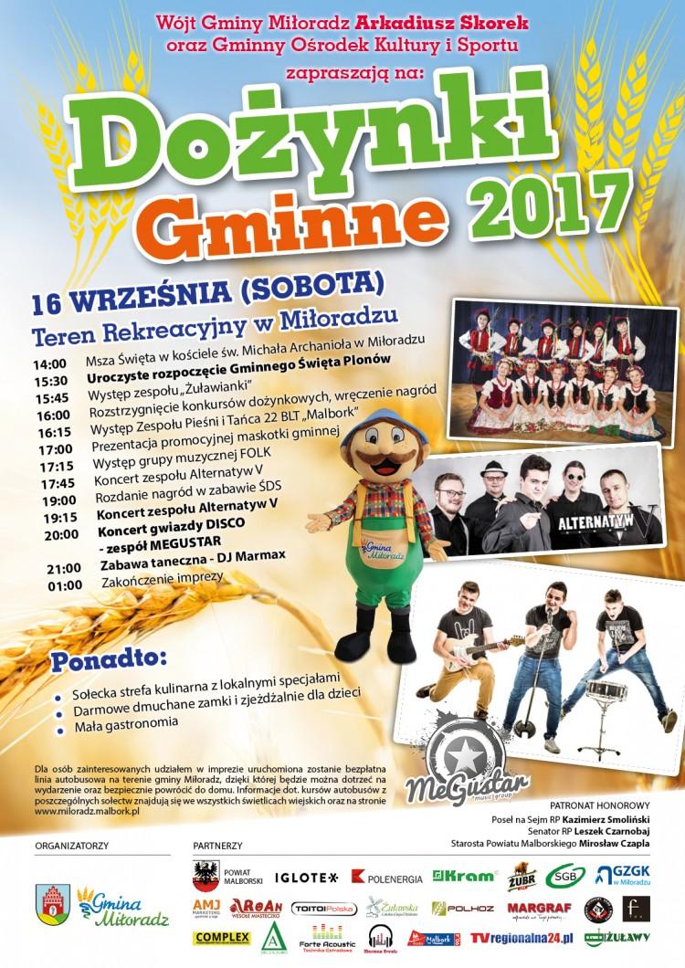 Zapraszamy na Dożynki 2017. Gminne Święto Plonów w Miłoradzu - 16.09.2017