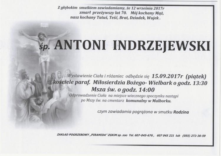Zmarł Antoni Indrzejewski. Żył 70 lat.