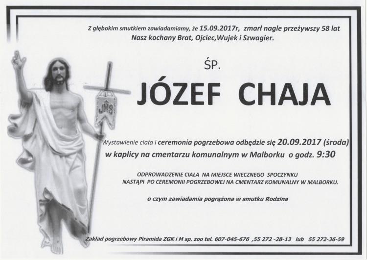 Zmarł Józef Chaja. Żył 58 lat.