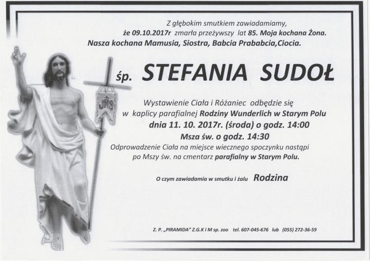 Zmarła Stefania Sudoł. Żyła 85 lat.