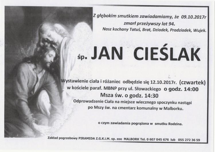 Zmarł Jan Cieślak. Żył 94 lat.