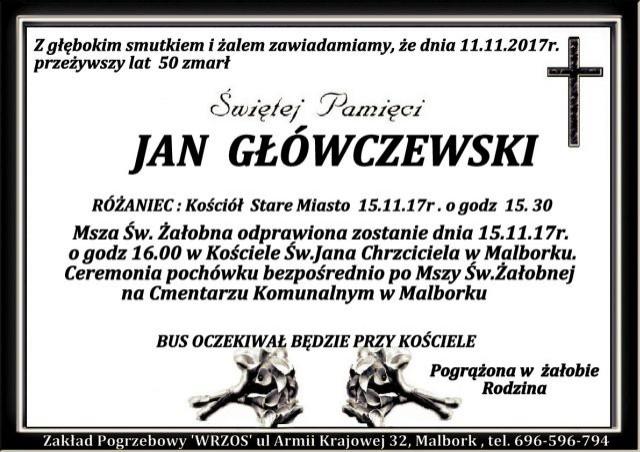 Zmarł Jan Główczewski. Żył 50 lat