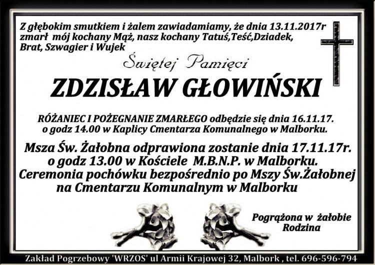 Zmarł Zdzisław Głowiński.
