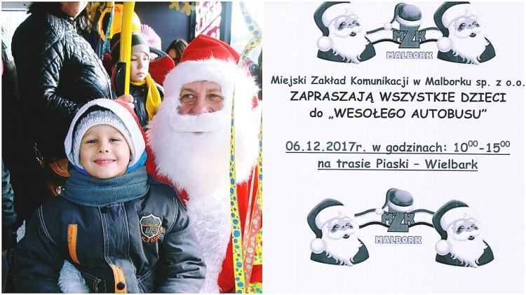 """Zapraszamy do """"Wesołego Autobusu"""". Świąteczny transport miejski w Malborku - 06.12.2017"""