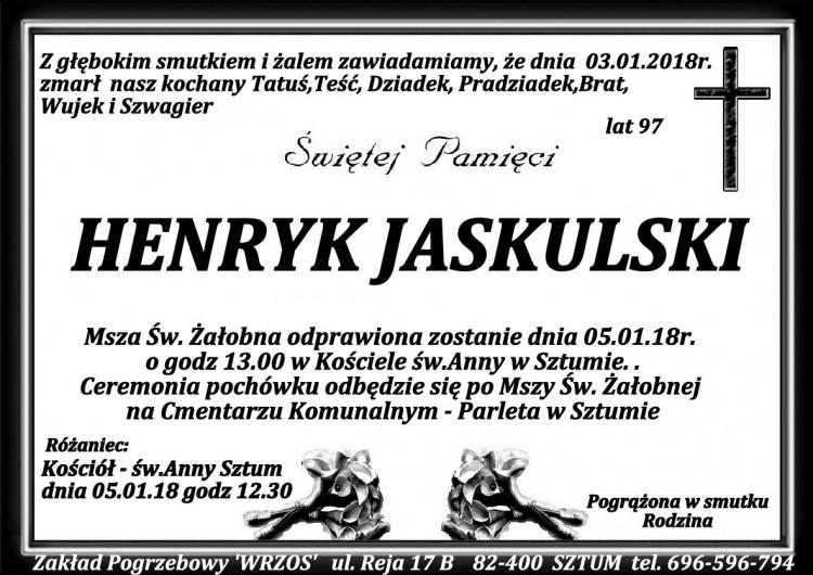 Zmarł Henryk Jaskulski. Żył 97 lat.