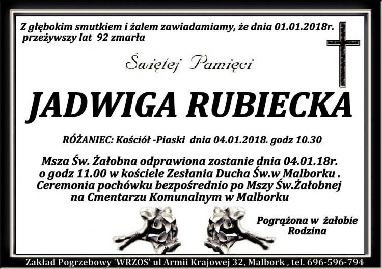 Zmarła Jadwiga Rubiecka. Żyła 92 lat.