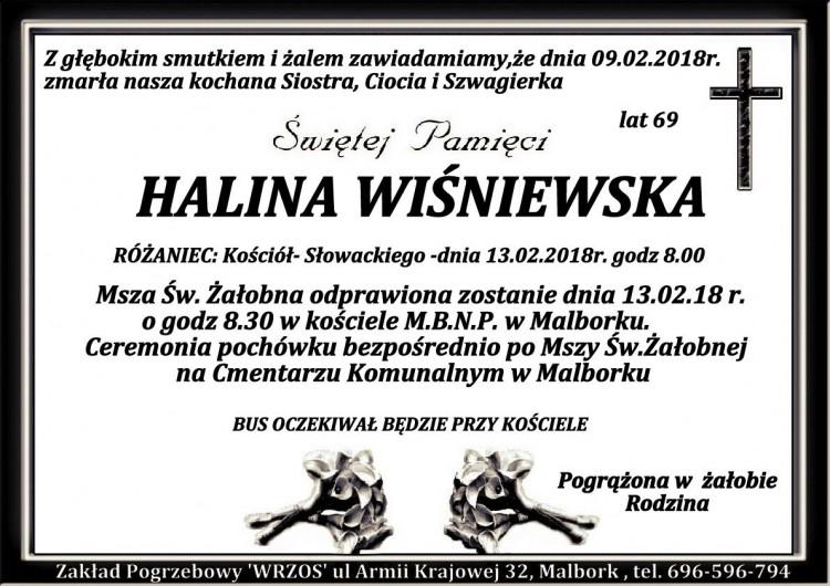 Zmarła Halina Wiśniewska. Żyła 69 lat.