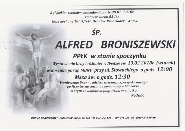 Zmarł Alfred Broniszewski. Żył 83 lat.