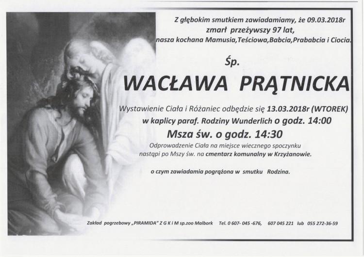 Zmarła Wacława Prątnicka. Żyła 97 lat