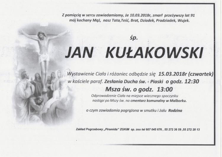 Zmarł Jan Kułakowski. Żył 91 lat.