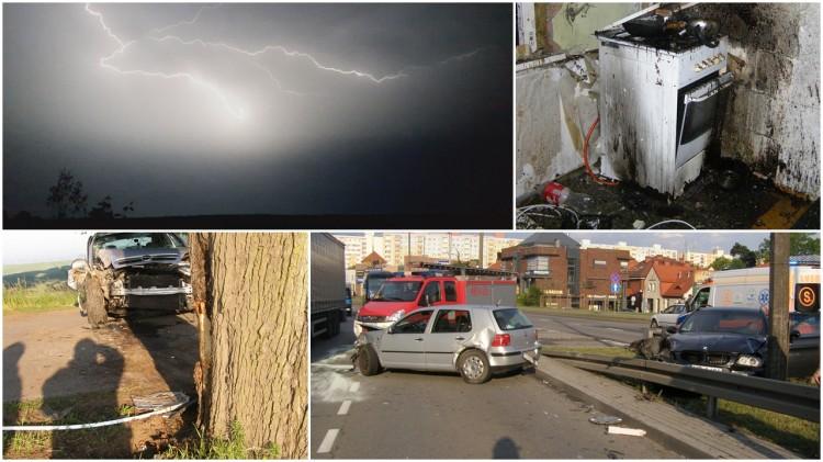 Silne uderzenie pioruna w dach, wypadek drogowy, pożar w mieszkaniu. Weekendowy raport malborskich służb mundurowych - 28.05.2018