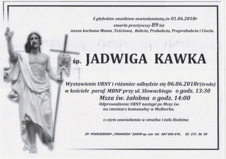 Zmarła Jadwiga Kawka. Żyła 89 lat.