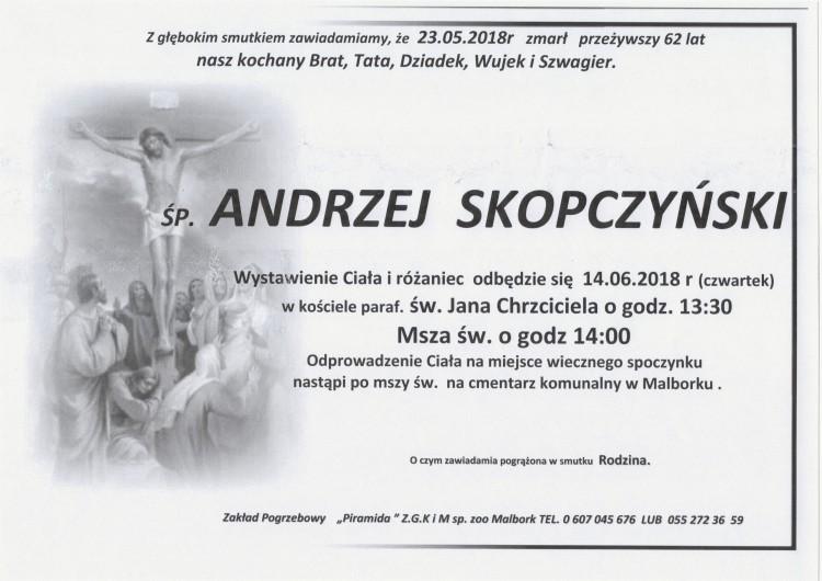Zmarł Andrzej Skopczyński. Żył 62 lata.