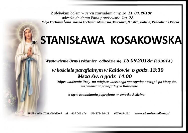 Zmarła Stanisława Kosakowska. Żyła 78 lat.