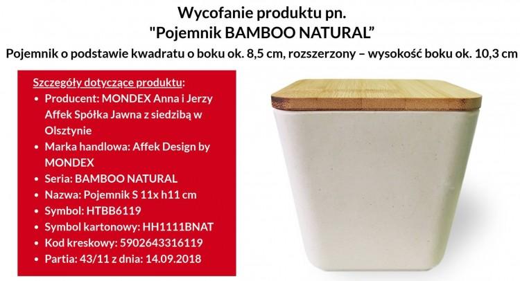 Uwaga, ważne! Wycofanie ze sprzedaży pojemnika Bamboo Natural.