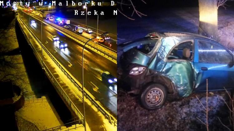 """""""Czarny weekend"""" na drogach powiatu malborskiego – zobaczcie nagrania i zdjęcia. Policja apeluje o ostrożność."""