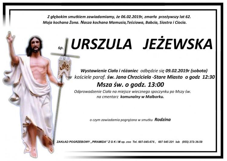 Zmarła Urszula Jeżewska. Żyła 62 lata.