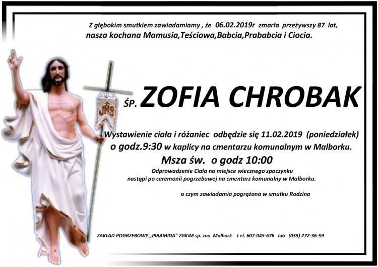 Zmarła Zofia Chrobak. Żyła 87 lat.
