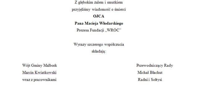Kondolencje Wójta Gminy Malbork
